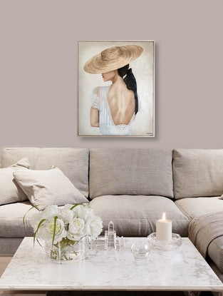 (CreativeWork) Èlise (Lady with a Hat) by Ashley Bunting. Oil Paint. Shop online at Bluethumb.