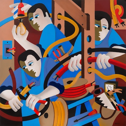 (CreativeWork) THE ELECTRICIANS by Thomas Andersen. Acrylic Paint. Shop online at Bluethumb.
