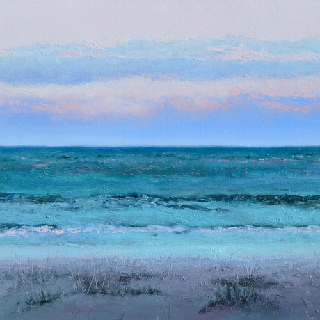 (CreativeWork) EMERALD DAWN - OCEAN ART by Jan Matson. Oil Paint. Shop online at Bluethumb.