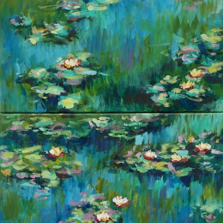 (CreativeWork) Lilies after Monet (1 and 2) by Olga Dziemidowicz. Acrylic. Shop online at Bluethumb.