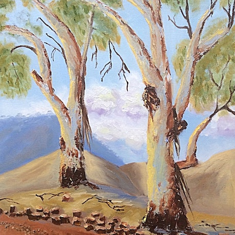 (CreativeWork) On the Way to Flinders Ranges, SA. by Margie Langtip. Oil Paint. Shop online at Bluethumb.