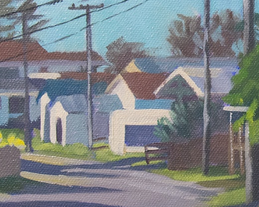 (CreativeWork) Wooli Main St from the cafe by Richard Washbourn. Oil Paint. Shop online at Bluethumb.