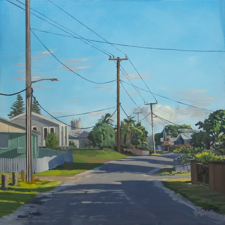 (CreativeWork) Shadows on Wooli Main St by Richard Washbourn. Oil Paint. Shop online at Bluethumb.
