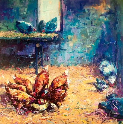 (CreativeWork) Pecking Order in the Chicken Coop by Jos Coufreur. Acrylic Paint. Shop online at Bluethumb.