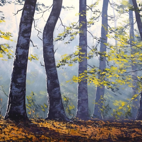 (CreativeWork) Autumn Forest trees by Graham Gercken. Oil Paint. Shop online at Bluethumb.