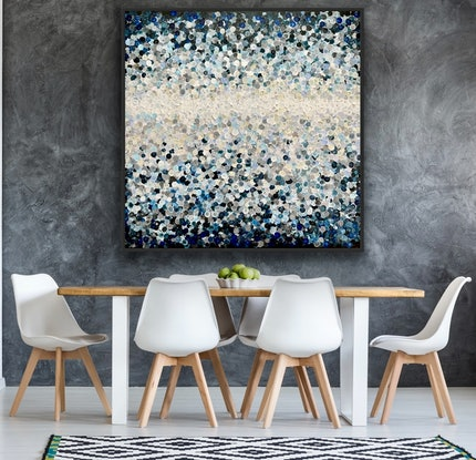 (CreativeWork) Breaking dawn 126x126 framed large textured abstract by Sophie Lawrence. Acrylic Paint. Shop online at Bluethumb.