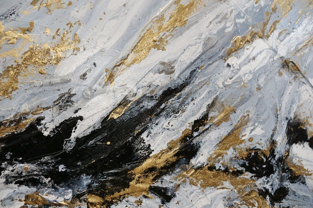 (CreativeWork) Golden Class 200cm x 80cm White Blue Gold Grey Abstract Textured Acrylic Gloss Finish FRANKO by _Franko _. Acrylic Paint. Shop online at Bluethumb.