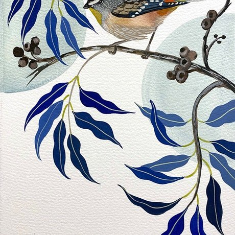 (CreativeWork) Spotted Pardalote and Cadaga 2021 by Sally Browne. Watercolour Paint. Shop online at Bluethumb.
