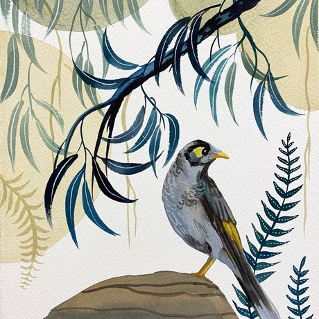 (CreativeWork) Noisy Miner Forest 2021 by Sally Browne. Watercolour Paint. Shop online at Bluethumb.