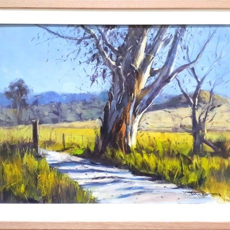 (CreativeWork) Country Morning by John Pearson. Oil Paint. Shop online at Bluethumb.