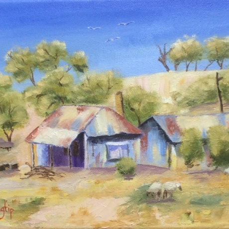 (CreativeWork) Bush Hut by Margie Langtip. Oil Paint. Shop online at Bluethumb.