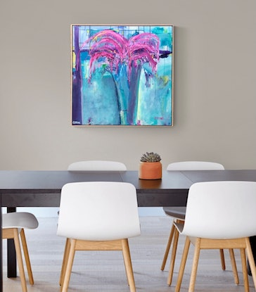 (CreativeWork) FLOWERS BLOOMING - FRAMED IN OAK - ABSTRACT FLOWERS by Belinda Stone. Mixed Media. Shop online at Bluethumb.