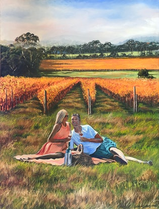 (CreativeWork) Picnic among the vines, McLaren Vale by Lindsay Kilminster. Oil Paint. Shop online at Bluethumb.