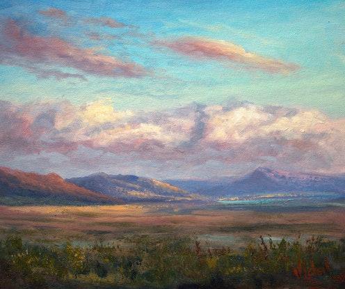 (CreativeWork) Clouds on Lake George at sunset - Oil on canvas board by Christopher Vidal. Oil. Shop online at Bluethumb.