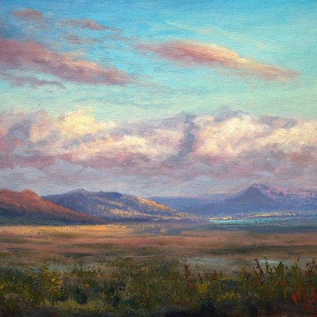 (CreativeWork) Clouds on Lake George at sunset - Oil on canvas board by Christopher Vidal. Oil Paint. Shop online at Bluethumb.