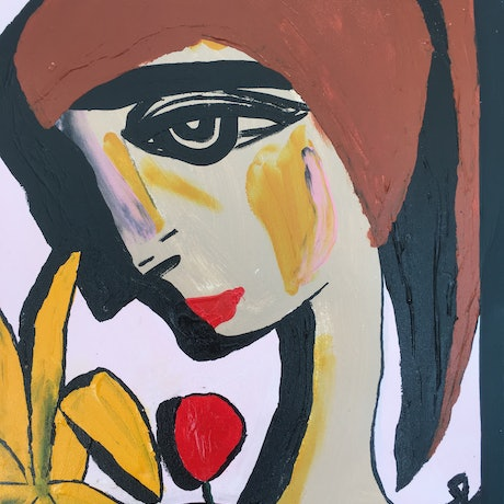 (CreativeWork) The girl with a banana type plant.  by Kate Rogers. Acrylic Paint. Shop online at Bluethumb.