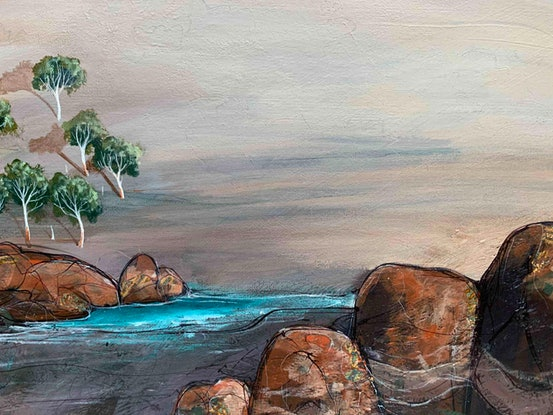 (CreativeWork) Inlet Daybreak 77X61cm Medium Textured Abstract Landscape by Tania Chanter. Acrylic Paint. Shop online at Bluethumb.