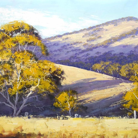 (CreativeWork) Summer landscape Kanimbla valley by Graham Gercken. Oil Paint. Shop online at Bluethumb.