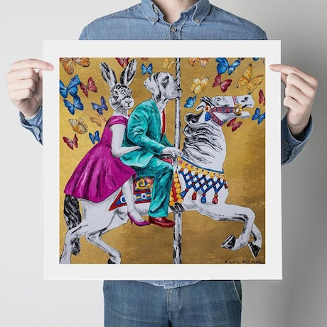 (CreativeWork) They Were on Golden Holidays  (Print)  by Gillie and Marc Schattner. Print. Shop online at Bluethumb.