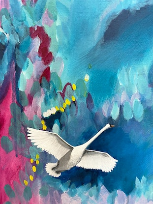 (CreativeWork) Grace and the Unkown by Melanie Lea. Acrylic Paint. Shop online at Bluethumb.