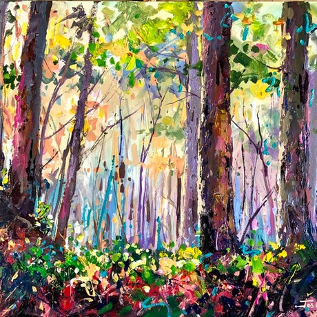 (CreativeWork) Gumtree Forest by Jos Coufreur. Acrylic Paint. Shop online at Bluethumb.