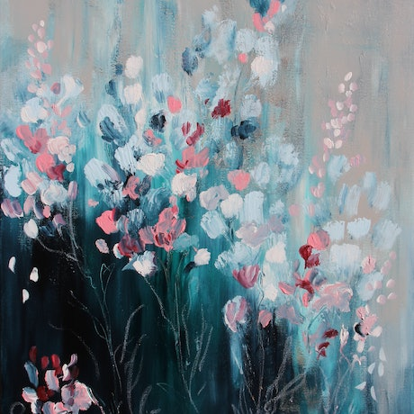 (CreativeWork) Autumn Blooms by Sue Dyde. Acrylic Paint. Shop online at Bluethumb.