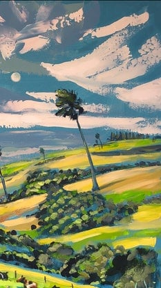 (CreativeWork) Windy day at Jamberoo  by Valentyna Crane. Acrylic Paint. Shop online at Bluethumb.