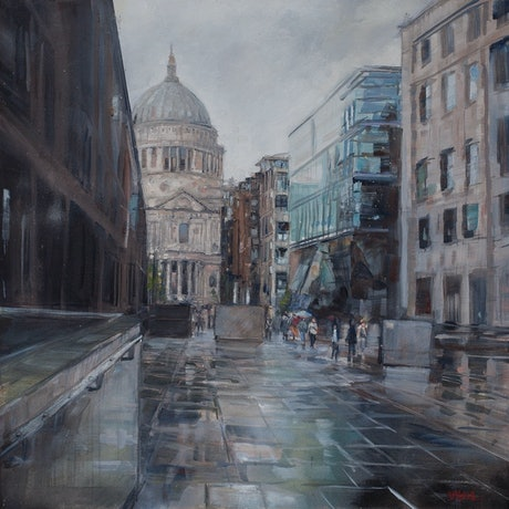 (CreativeWork) St. Paul's In The Rain by Shannah Mitchell. Oil Paint. Shop online at Bluethumb.