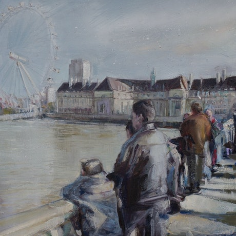 (CreativeWork) Tourists by Shannah Mitchell. Oil Paint. Shop online at Bluethumb.
