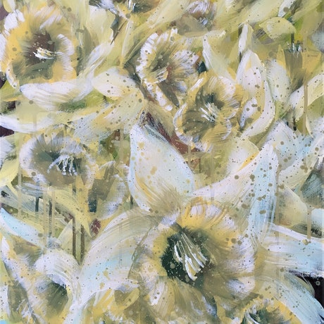 (CreativeWork) All My Sunrises With You  – Daffodils by HSIN LIN. Acrylic Paint. Shop online at Bluethumb.