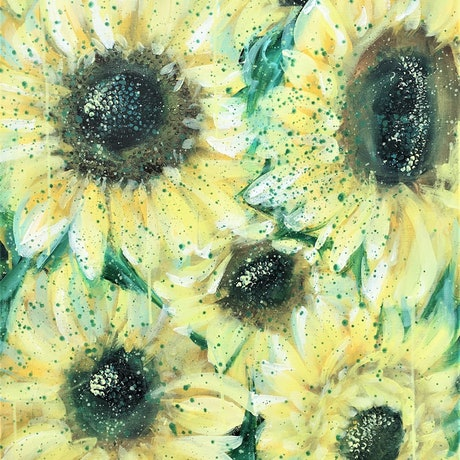 (CreativeWork) The Sunny Side Of Everything – Sunflowers by HSIN LIN. Acrylic Paint. Shop online at Bluethumb.