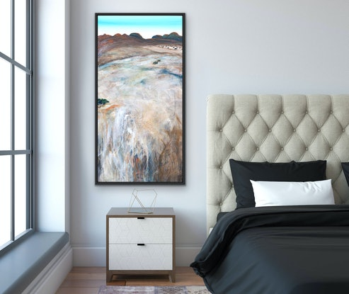 (CreativeWork) East Of The Gorge  122X61cm Vertical, Large Textured Abstract Landscape by Tania Chanter. Acrylic Paint. Shop online at Bluethumb.