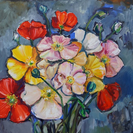 (CreativeWork) Colours of the Poppies by Katerina Apale. Oil Paint. Shop online at Bluethumb.
