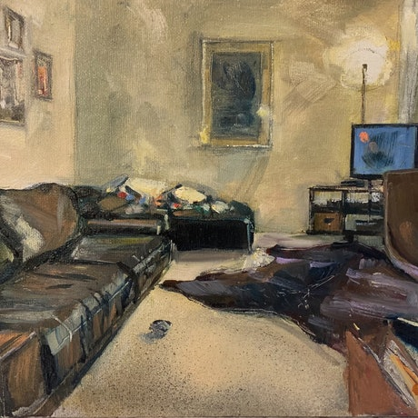 (CreativeWork) Get Yourself Comfy by Shannah Mitchell. Oil Paint. Shop online at Bluethumb.