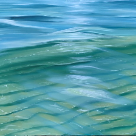 (CreativeWork) Coastal Walks - beach abstract seascape water ocean by Alanah Jarvis. Oil Paint. Shop online at Bluethumb.