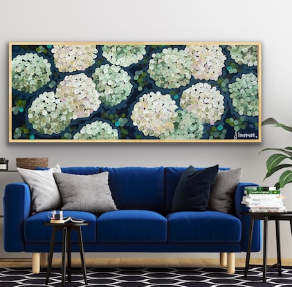 (CreativeWork) White night hydrangea 157x66 framed large textured anstract by Sophie Lawrence. Acrylic Paint. Shop online at Bluethumb.