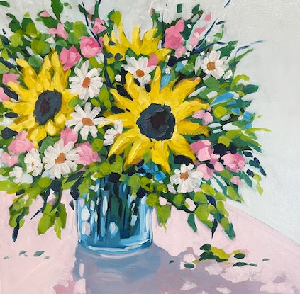 (CreativeWork) Sunflowers and Dasies  by Clair Bremner. Acrylic. Shop online at Bluethumb.