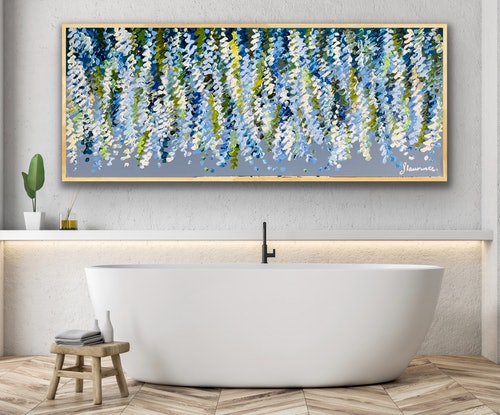 (CreativeWork) Heavenly blue wisteria 157x66 framed large textured abstract  by Sophie Lawrence. Acrylic Paint. Shop online at Bluethumb.