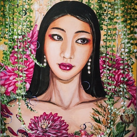 (CreativeWork) Ready And Waiting - Bella and Dahlia by HSIN LIN. Acrylic Paint. Shop online at Bluethumb.