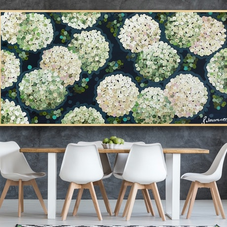 (CreativeWork) White night hydrangea 186x 96 framed large textured abstract by Sophie Lawrence. Acrylic Paint. Shop online at Bluethumb.
