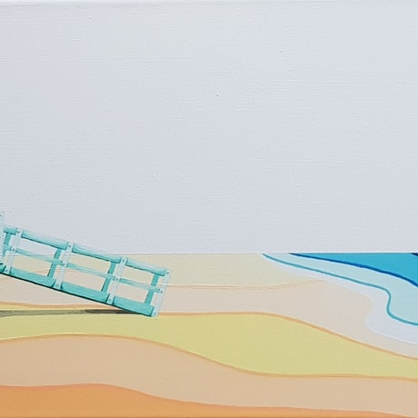 (CreativeWork) Lifeguard Tower No.93 by Michelle Jirsensky. Acrylic. Shop online at Bluethumb.