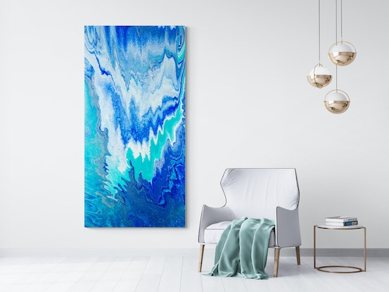 (CreativeWork) Blue Abstract - Blue Abyss by Michelle Tracey. Acrylic Paint. Shop online at Bluethumb.