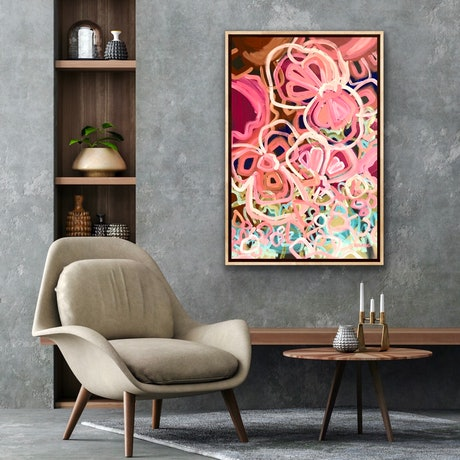 (CreativeWork) Love You To The Moon 90x60cm - Abstract Flowers by Jen Shewring. Acrylic Paint. Shop online at Bluethumb.