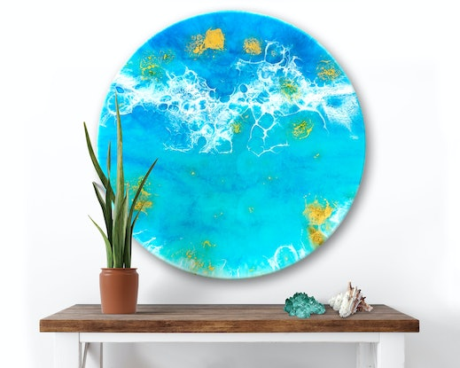 (CreativeWork) Ocean Resin Art - Shimmer by Michelle Tracey. Resin. Shop online at Bluethumb.