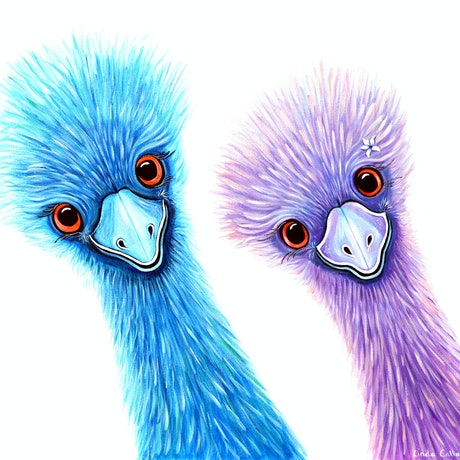 (CreativeWork) Quirky Emus - Double Trouble by Linda Callaghan. Acrylic Paint. Shop online at Bluethumb.