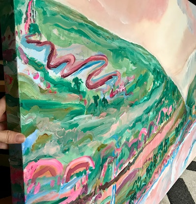 (CreativeWork) HILLY OUTLOOK - ABSTRACT LANDSCAPE  by Belinda Stone. Acrylic Paint. Shop online at Bluethumb.