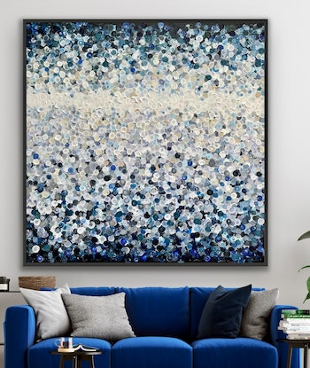 (CreativeWork) Night vision 126x126 framed large textured abstract by Sophie Lawrence. Acrylic Paint. Shop online at Bluethumb.