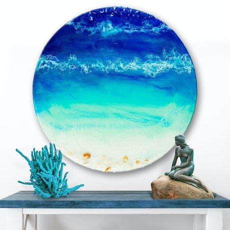 (CreativeWork) Ocean Resin Art - Ocean Blue by Michelle Tracey. Resin. Shop online at Bluethumb.