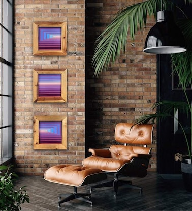 (CreativeWork) Glow triptych  by Brad Holland. Acrylic Paint. Shop online at Bluethumb.