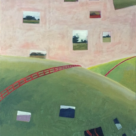 (CreativeWork) the red fence by dave Hearne. Acrylic Paint. Shop online at Bluethumb.